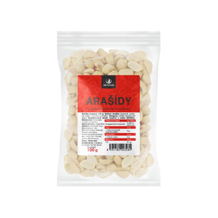 Arašídy pražené loupané nesolené 100 g